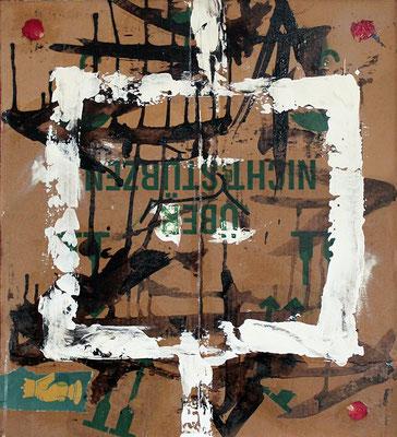 "Nichts überstürzen (Don't rush it!) | 2013 | Mixed media on cardboard | 56.5x50.5cm | 22.2""x19.9"""