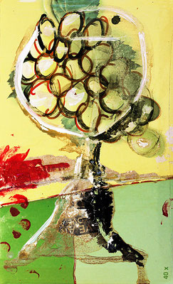"White wine | Mixed media on carton | 25.2x15.2cm | 9.9""x6"""