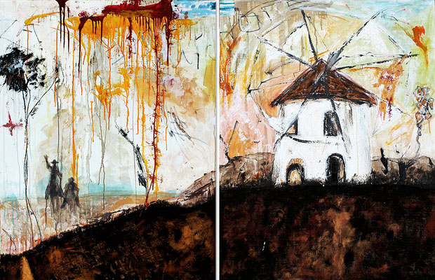 "Windmill | 2014 | Mixed media on canvas | Diptych, 100x205cm | 39.4""x80.7"" •"