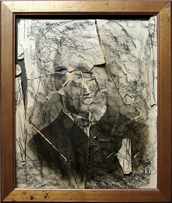 "Portrait of unknown brothers | Charcoal on photographs with hammer strokes on cardboard. Collage/décollage, with ancient wooden frame | 48x40cm | 18.9""x15.7"" 