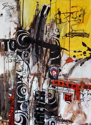 "Cab | 2013 | Mixed media on canvas | 100x80cm | 39.4""x31.5"""
