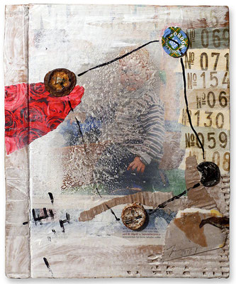 "Catch 22 | Mixed media on cardboard | 30x24cm | 11.8""x9.4"" 