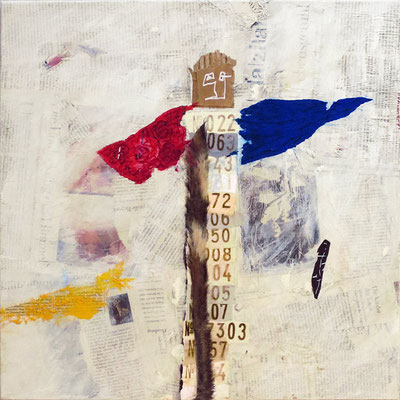 "Totem | 2013 | Mixed media on canvas | 50x50cm | 23.6""x23.6"""