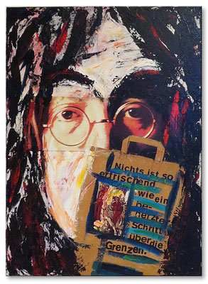 "Portrait of John Lennon | 2006 | Acrylic and collage on canvas | 80x60x4cm | 31.5""x23.6""x1.6"""