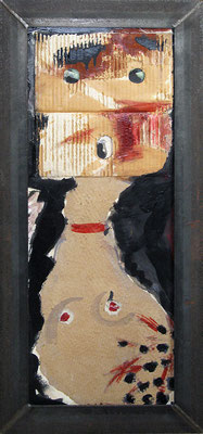"The look | 2006 | Acrylic and carton on wood, with metal frame | 91x41.5cm | 35.8""x16.3"""