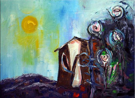 "Cottage | 2008 | Acrylic on canvas | 50x70cm | 19.7""x39.4"""