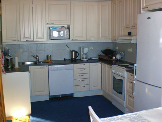 """Big kitchen. Fully equipped. Quiet """"Miele"""" dishwasher. Electric cooker. Big refrigerator. Separate freezer. Microwave. Coffee maker. Toaster ... Hot and cold municipal drinking water in kitchen and shower room. Quiet, adjustable ventilation on the roof"""
