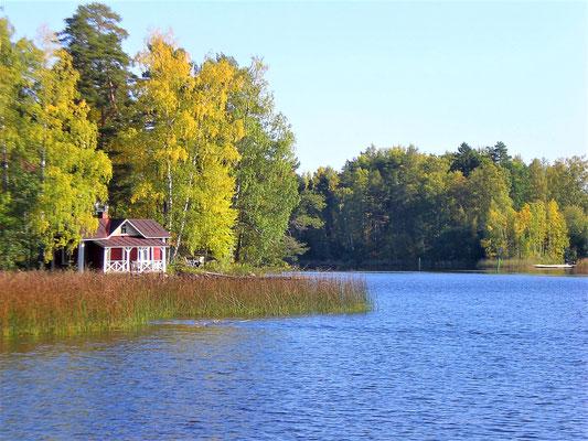 Intensive herbstliche Farben mischen sich mit dem Blau des Sees. Hier nahe der Einfahrt zum Segelbootshafen, der auf dem Weg zum  Ferienhaus liegt.