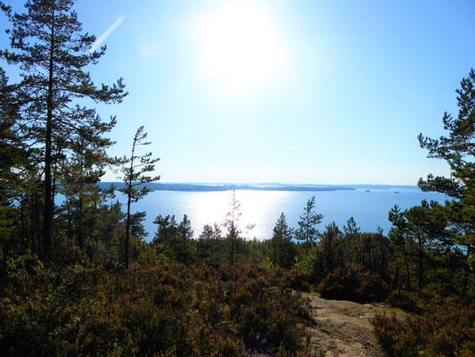 Panorama-Aussicht im Naturschutzgebiet nahe des Ferienhauses auf den See.