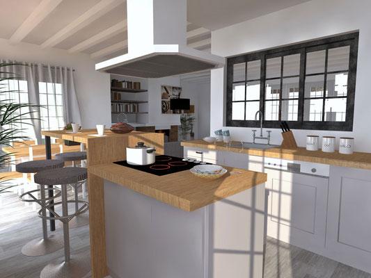 Vue 3D photo-réaliste cuisine vers séjour