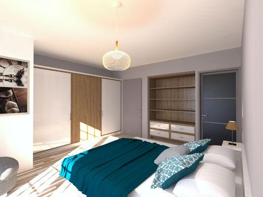Vue 3D photo-réaliste chambre et accès salle de bain