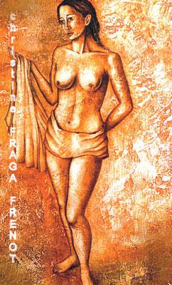 femme, huile sur bois Christine FRAGA FRÉNOT