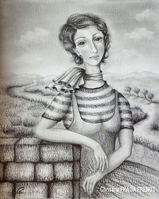 FEMME AU FOULARD dessin naïf à la mine de plomb Christine FRAGA FRÉNOT