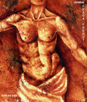 homme, huile sur bois Christine FRAGA FRÉNOT