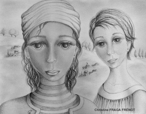 DUO dessin naïf à la mine de plomb Christine FRAGA FRÉNOT