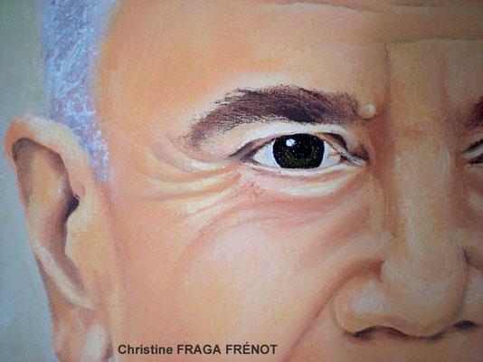 Portrait à l'huile (détail) sur toile d'après photo, Christine FRAGA FRÉNOT