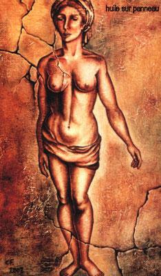 femme au turban, huile sur bois Christine FRAGA FRÉNOT