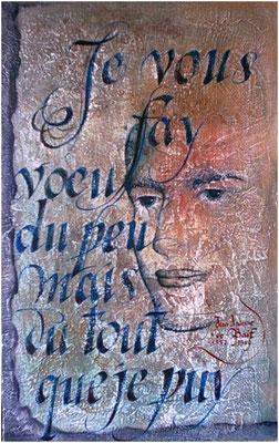 homme et poème, huile sur bois Christine FRAGA FRENOT