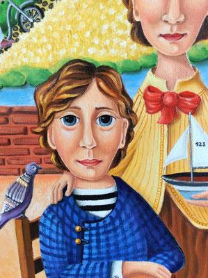 99- LE GRAND FLEUVE - Christine FRAGA FRÉNOT Art Naif, huile sur toile 30F