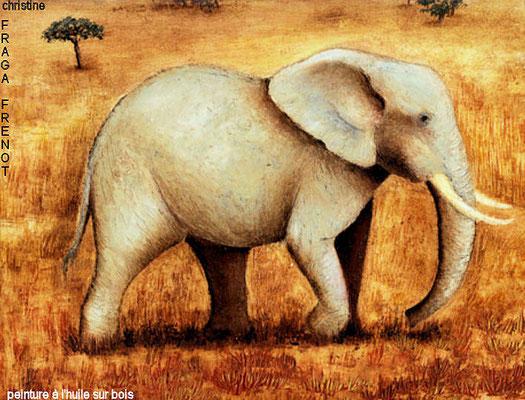 éléphant, huile sur bois Christine FRAGA FRÉNOT