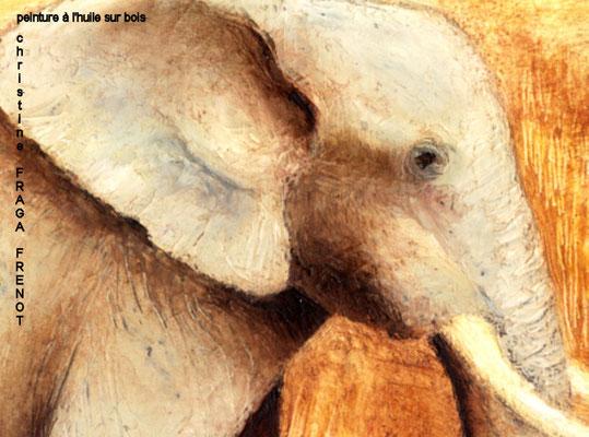 éléphant détail, huile sur bois Christine FRAGA FRÉNOT