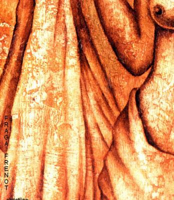 femme détail, huile sur bois Christine FRAGA FRÉNOT