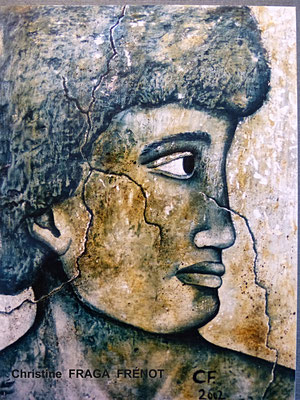 profil homme, huile sur bois Christine FRAGA FRENOT