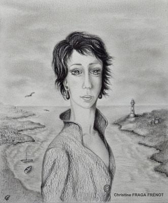 BORD DE MER dessin naïf à la mine de plomb Christine FRAGA FRÉNOT