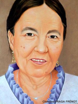 Portrait à l'huile sur toile d'après photo, Christine FRAGA FRÉNOT