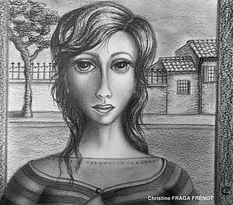 FEMME AU GILET RAYÉ dessin naïf à la mine de plomb Christine FRAGA FRÉNOT
