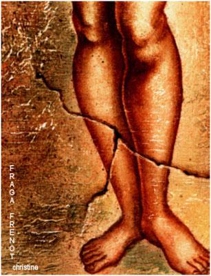 femme au turban détail, huile sur bois Christine FRAGA FRÉNOT