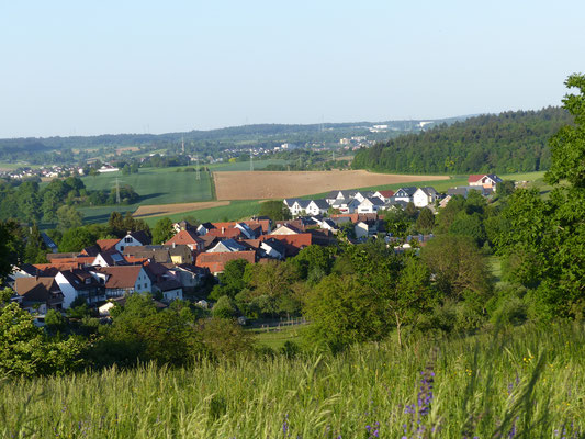 Blick vom Lugenberg auf Ortsmitte, Unterdorf und Panoramaweg  Mai 2018