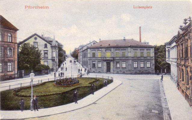 Pforzheim: Luisenplatz  - Postkarte von 1906