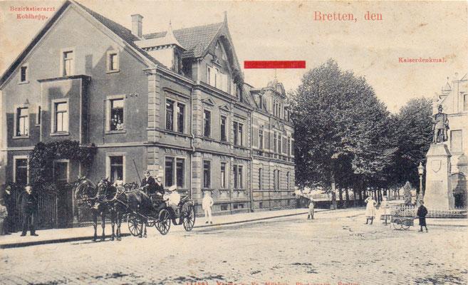 Bretten: Kaiserdenkmal  - Poststempel 1904