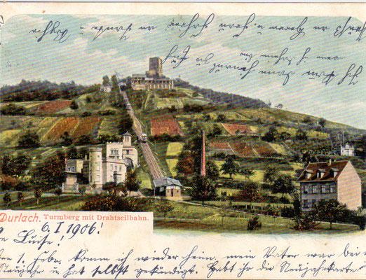 Durlach: Turmberg - Poststempel 1906