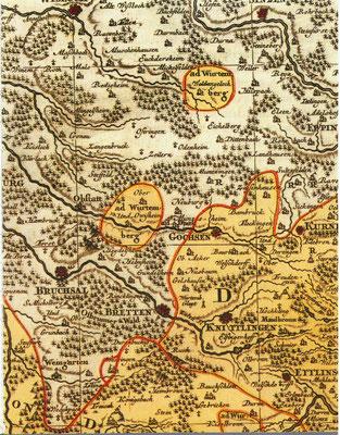 Badisches Unterland 1695 Quelle: Stadtwiki Karlsruhe