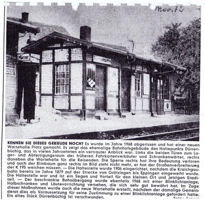 Presseartikel November 1972  (Archiv: Argast)