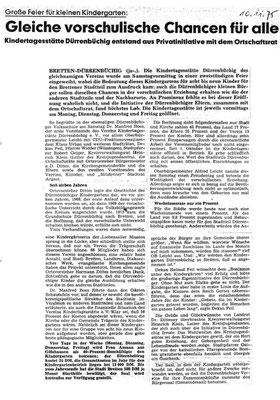 erster Presseartikel zur Vereinsgründung ( Bericht von Walter Argast in den BNN)