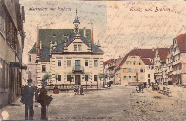Bretten: Marktplatz mit Rathaus -Poststempel 1903