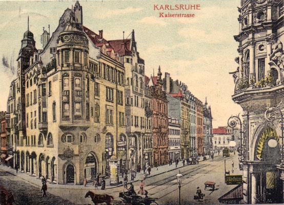 Karlsruhe: Kaiserstrasse  - Poststempel 1910