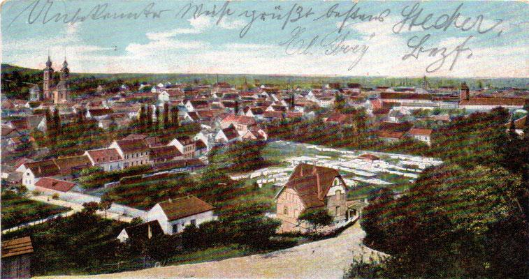 Bruchsal: Totalansicht  -Poststempel 1906
