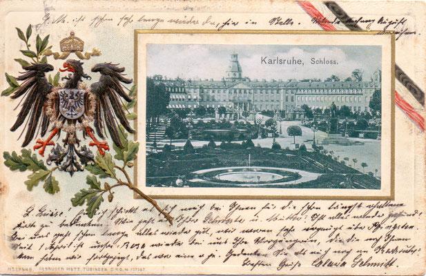 Karlsruhe:  Schloss - Poststempel 1901