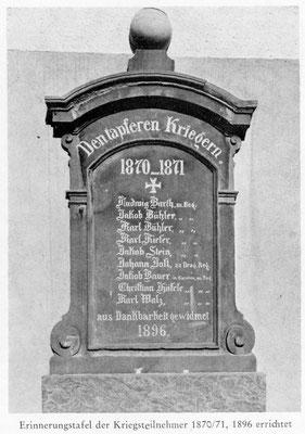 Ehemaliges Denkmal der Dürrenbüchiger Kriegsteilnehmer im Krieg 1870/71 am alten Schulhaus/Beetsall bis in die 80iger Jahre