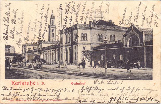 Karlsruhe: Bahnhof  - Poststempel 1903
