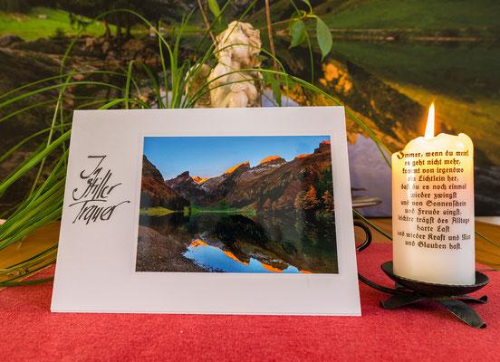 Trauerkarte im Format 210x148mm inkl. Couvert-Seealpsee mit Spiegelung-Alpenglühen-Herbst