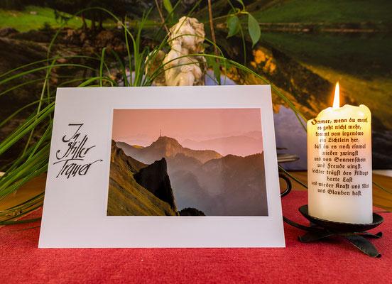 Trauerkarte im Format 210x148mm inkl. Couvert-Dreifaltigkeit-Hoher Kasten