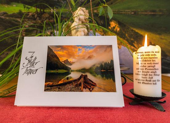 Trauerkarte im Format 210x148mm inkl. Couvert-Seealpsee-Sonnenaufgang mit Wolken und Nebelbank