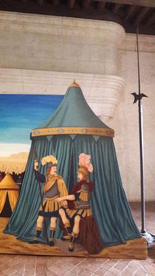 1er ét. - Tente peinte sur carton, collée en relief