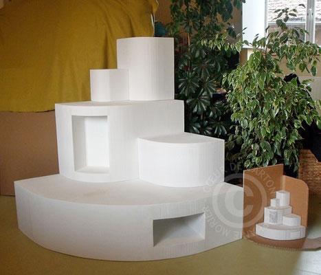"""Présentoirs 5 modules en carton pour vitrine magasin Coloquinte (Cf. """"Sur mesure"""")"""