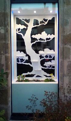 Panneaux de décor en carton pour vitrine